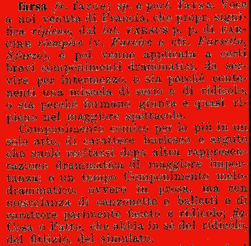 Etimologia farsa for Farcical traduzione