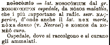 Etimologia nosocomio for Mobilia dizionario