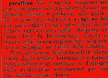 Etimologia paraffina for Mobilia dizionario