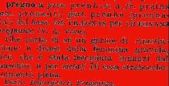 Etimologia pregno pregna for Mobilia dizionario
