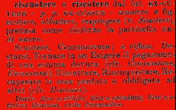 Etimologia riscuotere riscotere for Mobilia dizionario