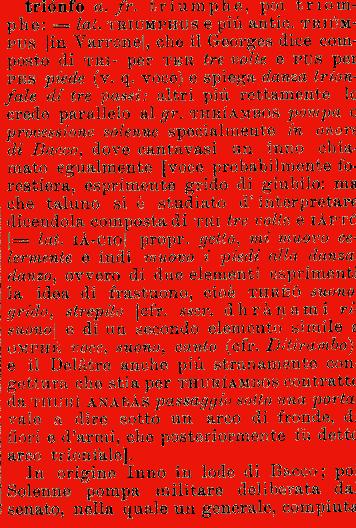 Etimologia trionfo for Mobilia dizionario