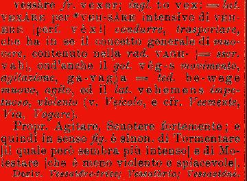 Etimologia vessare for Mobilia dizionario