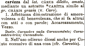 Etimologia Carezza